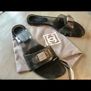 Chanel Smoke Gray Buckle Slide Sandals EU 39